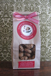 Peanut butter organic dog treats with nothing in the Peanuts but peanuts! gluten free, grain free limited ingredients.